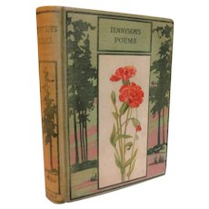 Victorian Poetical Works of Alfred Tennyson Poems Antique Book Poetry Litho Carnations Fine Binding