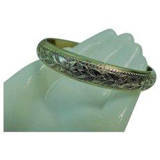 Whiting & Davis Signed Vintage Hinged Clamper Bangle Gold Bracelet Flowers