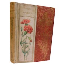 Victorian Antique The Chimes A Goblin Story Charles Dickens Illustrated Fine Decorative Binding Book Gilt Iris & Lithograph Carnations