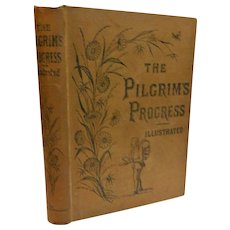 Victorian Pilgrim's Progress John Bunyan Illustrated Antique Book with Biographical Sketch