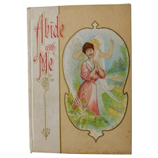 Antique Abide With Me Christian Hymn Poem Illustrated Color Plate Lithograph Gift Book Edwardian