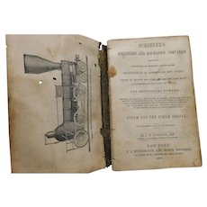 1854 Scribner's Engineers and Mechanics Companion Steam Engine Centers of Gravity Statics Antique Book Illustrated Square Cube Root Engineering