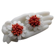 Unusual Faux Branch Coral & White Milk Glass Cluster Flower Large Earrings Clip Backs Vintage