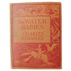 1908 The Water Babies Charles Kingsley Fairy Tales Illustrated Fantasy Childrens Book with Color Plates by George Soper Antique Book