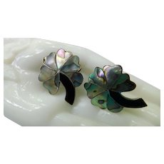 Signed Taxco Mexico A.M. Sterling Silver 925 Inlaid Abalone Black Onyx Earrings Large Screw Backs Vintage