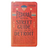 1920 Federal Official Street Guide & Pocket Directory of Detroit Michigan with Pull Out Map Antique