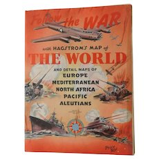 """World War 2 Hagstrom's Map of the World Follow the War fold out 42""""x32"""" Europe Mediterranean North Africa Pacific Aleutians Battle Military Vintage WWII"""