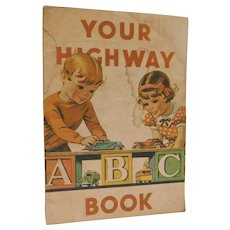 1935 Standard Oil Company of Indiana ABC Alphabet of Cute Advertising for Cars Trucks Transportation Book Vintage Gas Gasoline Station illustrated