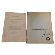 WW2 1943 AAF Instrument Flying Theory Practice Advanced Pilot Restricted Book & Instruction Guide Sheet Army Air vintage Airforce World War II