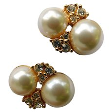 Christian Dior Designer Clip On Earrings Gold Plated Crystal Diamantes with Faux Pearls