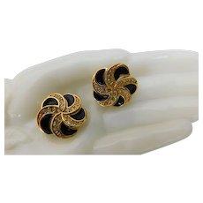 Swarovski Signed Swan Gold Plated Black Enamel & Crystal Ice Clear Earrings Clip Ons Pinwheel Flower