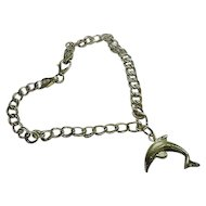 """Estate 3/4"""" Dolphin 925 Italy Sterling Silver Charm & Double Link Charm Bracelet 7"""""""