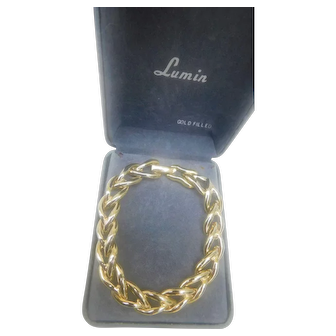 Vintage Lumin Yellow Gold Filled Link Bracelet 7.40inches