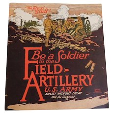 1920 War Department U.S. Army Field Artillery Illustrated Recruiting Book Military Soldier with World War I Facts and Photos WW1