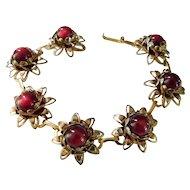 Vintage Ruby Red Moonglow Bracelet Moonstone Costume Jewelry