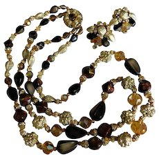 GORGEOUS Vintage Amber Crystal Gold Nugget Brown Black Beaded Two Strand Choker Necklace & Chunky Earrings Clip On Set Demi Parure