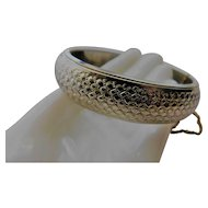 Vintage Yellow Gold Fill Plated Bangle Bracelet Clamper Basket Weave Pattern with Safety Chain .65inch wide