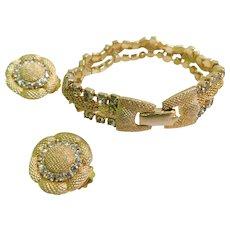 Mesh Woven Bracelet & Clip On Earrings Crystal Rhinestone Set Vintage Costume Demi Parure