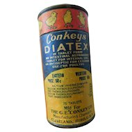 1929 Conkeys Diatex Intestinal Stringent Pills Poultry Chicken Chick Advertising Tin Can Farm Vet Medicine FULL of Tablets