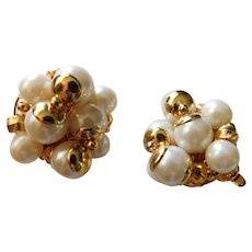 Vintage Crown TRIFARI Clip On Earrings Clusters of Faux Pearls and Gold Beads