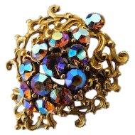 SPARKLING Gaudy Carnival Glass Fall Colors Aurora Borealis AB Crystal Brooch Ornate Swirls Pin Vintage VIVID