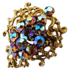SPARKLING Gaudy Carnival Glass Fall Colors Aurora Borealis AB Crystal Brooch Ornate Swirls Pin Vintage VIVID