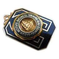 1946 14KT Enamel Babson Institute Business Training Nautical Clipper Ship Emblem Gold Brooch 14K Vintage
