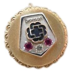 14K Bronson Hospital Kalamazoo Mi Service Award 14KT Gold Diamond Ruby Pin Pendant Brooch
