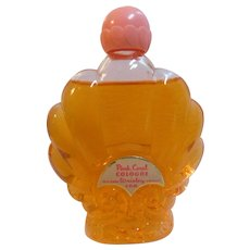 ART DECO 1941 Wrisley's Pink Coral 3oz Clam Shell Perfume Glass Bottle Nearly FULL Vintage