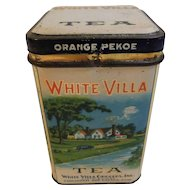 Vintage White Villa Tea Advertising Tin White Villa Grocers Cincinnati and Drayton Sunshine Farms Orange Pekoe