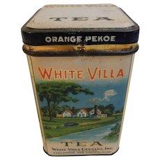 Vintage White Villa Tea Advertising Tin White Villa Grocers Cincinnati and Drayton Sunshine Farms Orange Pekoe