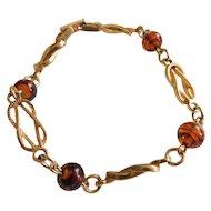 Attractive Vintage AVON Bracelet Swirled Caramel Brown Art Glass Accents on Gold