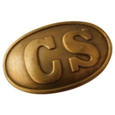 Vintage Confederate States of America Southern Army Civil War Belt Buckle Reproduction Brass CS