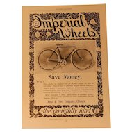 Original 1899 Imperial Wheels Bicycle Ad Print Ames & Frost Company Chicago Bike Victorian Advertising