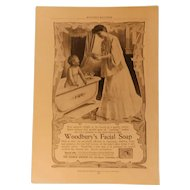 Victorian Woodbury's Facial Soap Genuine Ad Print Andrew Jergens Co. Advertising Mother with Baby Having Bath Antique 9.5""