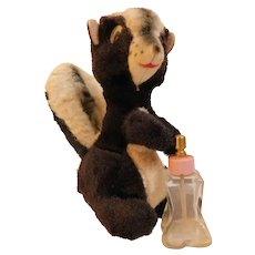 1957 L'il Squirt Perfume Bottle With Stuffed Plush Animal Skunk Atomizer in Tail Vintage