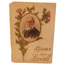 Gems From James Russell Lowell Poetry Poems Gift Book with Illustrated Full Page Color Plates Lithographs Cupples & Leon  Antique Edwardian