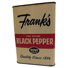 "Vintage Frank's Black Pepper Dove Brand Spice Advertising Tin 6"" 1Lb Can Red White Navy Blue"