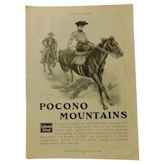 Original 1903 Lackawanna Railroad RR Pocono Moutains Ad George Wright Print Horse Lady Equestrian Edwardian Advertising Antique