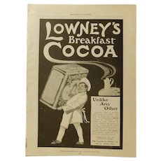 Original 1901 Lowney's Breakfast Cocoa Baker with Chocolate Tin Print Ad  Victorian Advertising