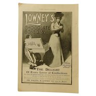 1900 Lowney's Chocolate Box Lady & Bonbons Victorian Ad Print Antique Advertising