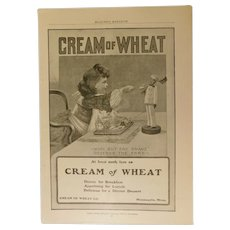 Original 1900 Cream of Wheat Rastus Print Ad Breakfast Cereal Antique Victorian Advertising None But the Brave Deserve the Fair