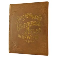 1892 Rand McNally Universal Atlas of World Color Maps Solar System Columbia Exposition Word's Fair Important Events Diagrams History World United States Antique Victorian Book