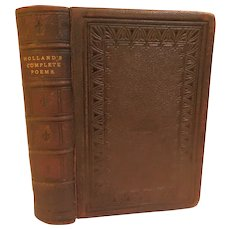 1879 The Complete Poetical Works of J.G. Holland Illustrated Leather Gilt Antique Victorian Poetry Book Fine Binding