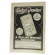 Original 1900 Comfort Infant Powder Tin Ad Baby Print Victorian Advertising Skin Remedy