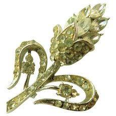 Art Deco Signed CORO Crystal Ice Rhinestone Brooch Pin
