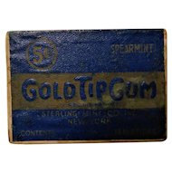 "Art Deco Gold Tip Gum ""The Aristocrat of Gums"" Advertising Box Cigarette Form Vintage 1930s"