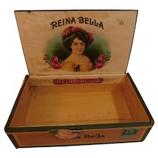 1910 Reina Bella Wood Cigar Tobacco Box with Lovely Lady Labels Antique Edwardian