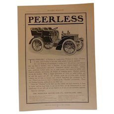 1904 Peerless Motor Car Vertical Engines Chainless Genuine Original Ad Print Advertising Antique Edwardian Automobile