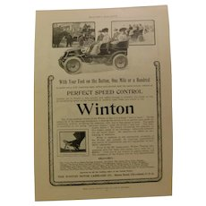 1903 Winton Touring Car Genuine Original Advertising Print Antique Automobile Carriage Horseless Buggy
